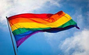 Rainbow flag in breeze