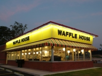 This is an exterior of a restaurant, part of the Waffle House chain. (Via MerlinFTP Drop)
