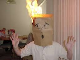 Paper bag on fire
