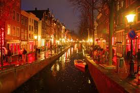 Amsterdam's Red Light District after dark