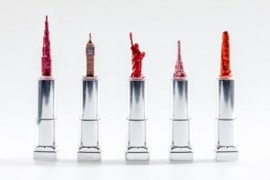 Real lipstick by a real artist.  Usually he carves pencil lead...