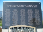 Memorial plaque with the names of those in SBP that died in the storm.