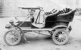 Old car with gun