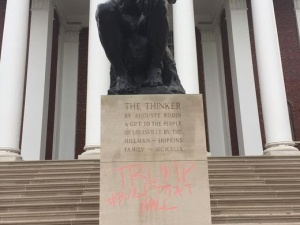 "The irony -- an original bronze Rodin ""Thinker"" at the University of Louisville defaced with ""Trump Build That Wall""."