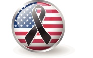 USA flag button with black ribbon vector