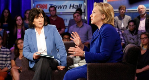 Christiane Amanpour interviews Hillary Clinton. | CNN/David Holloway